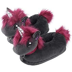 corimori Ruby el Unicornio Punk Zapatillas De Casa Niños Talla Única 25-33,5, Color Negro-Rosa (1847)