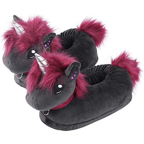 corimori 1847 - Punk Unicorn Ruby Cute Plush 3D Animal Shaped Slippers, Funny Lounge Shoes, Childrens Sizes 9-2
