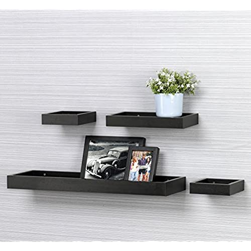 Ou0026K Furniture Set Of 4 Floating Wall Ledge Shelf Tray For Home And Office  Decoration  Black Walnut