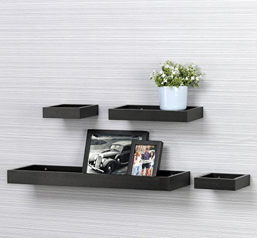 O&K Furniture Set of 4 Floating Wall Ledge Shelf Tray for Home and Office Decoration- Black Walnut