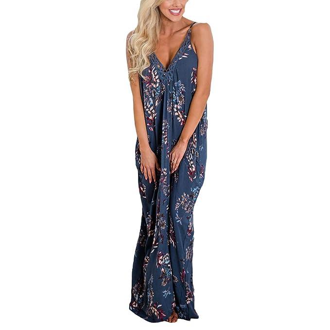 8e3f77d2f7 Women's V Neck Spaghetti Strap Maxi Dress Floral Print Long Flowy Dress