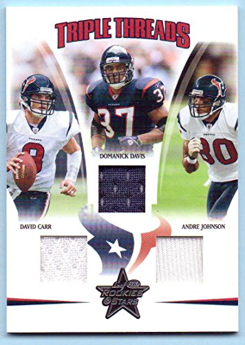Andre Johnson Jersey - Andre Johnson, Domanick Davis, David Carr Leaf Rookies & Stars Triple Game Worn Jersey #TT-8 - 076/150 - Houston Texans