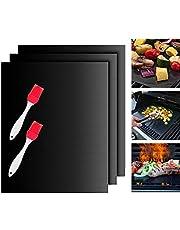 Tappetini Barbecue Set,BBQ Grill Mat Set Tappetini da cucina per cottura su gas, carbone, forno e grill elettrici,resistenti calore Barbecue Fogli per grigliare carne silicone per attività all'aperto