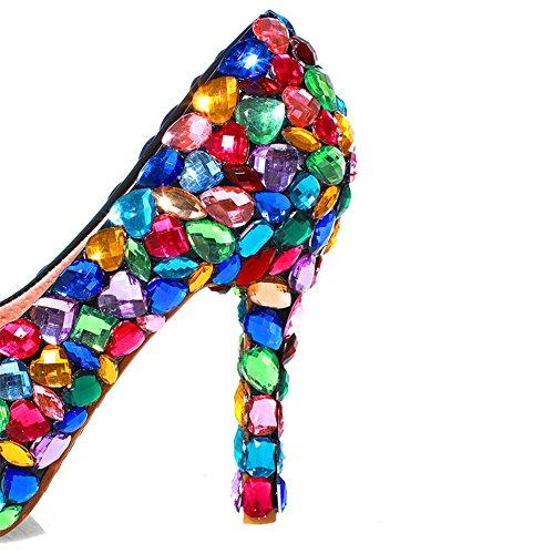 Donne Strass In Sette Piattaforma Tacco Di Multicolore Propria Pelle Pompa Alto Vera Nove E Delle qgw6II