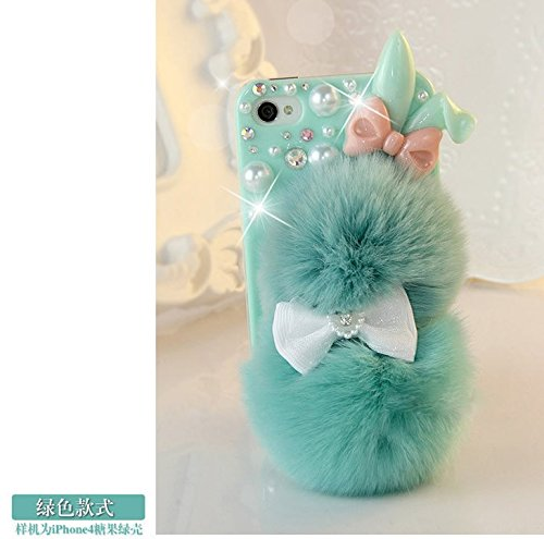 iPhone 6 Plus Case - LU2000 Luxury 3D Rabbit Fur Fluffy Phone Furry Case Bling Pearl Crystals Diamond Sparkle Bedazzled Jeweled Fit for Apple iPhone 6 Plus(5.5
