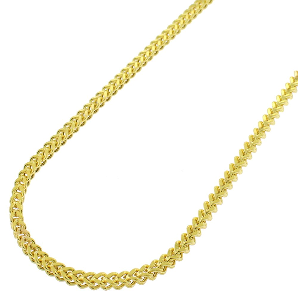 Sterling Silver 2.5mm Hollow Franco Square Box Link 925 Yellow Gold Plated Necklace Chain 18'' - 30'' (26)