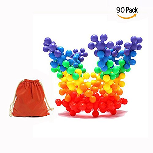 Cisixin 90 Pieces Mighty Molecules Big Size Colorful Brain Flakes Clip Connect PE Plastic Interlocking Learning Blocks Gears Building Kit .