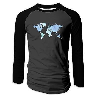 Amazon hakla mens cool funny design blue world map long sleeve hakla mens cool funny design blue world map long sleeve raglan t shirt gumiabroncs Images