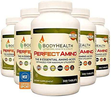 BodyHealth PerfectAmino (300 Tablets) 8 Essential Amino Acids Supplements with BCAA, Increase Muscle Recovery, Boost Energy & Stamina, 99% Utilization, Vegan Branched Chain Protein Pre/Post Workout 3