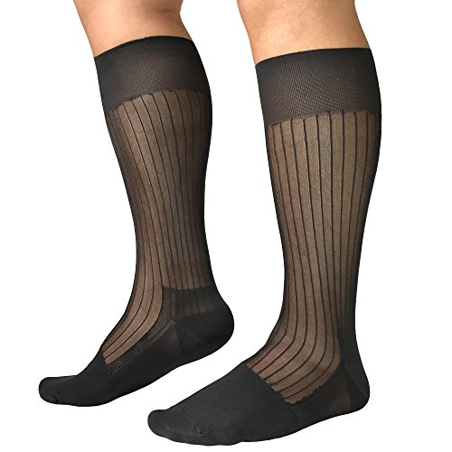 Mr.Babuu 5Pairs Pack Men's Fashion Over the Calf Striped Nylon Sheer Silk Dress Socks (Black)