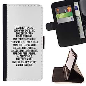 BullDog Case - FOR/HTC One M7 / - / text letter motivational inspiring quote /- Monedero de cuero de la PU Llevar cubierta de la caja con el ID Credit Card Slots Flip funda de cuer