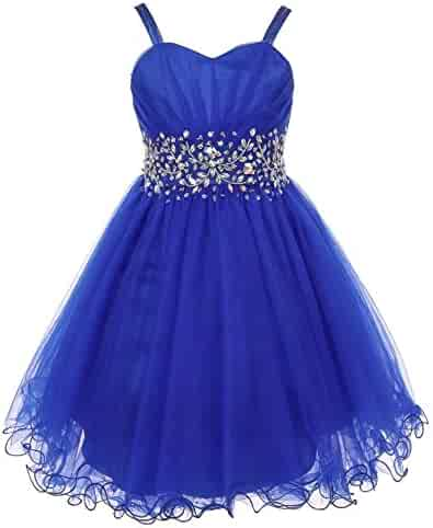 a0f15d6cacb Big Girls Royal Blue Stone Encrusted Pleated Tulle Junior Bridesmaid Dress  8-16