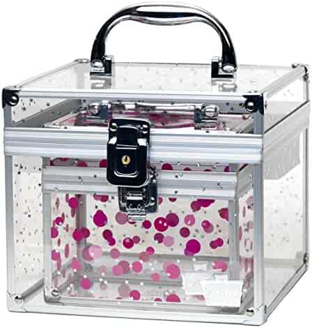 Caboodles Prima Donna Medium Case with Holographic Stars and Pink Dots Bonus Case