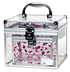 Caboodles Prima Donna Medium Case With Holographic Stars & Pink Dots Bonus Case