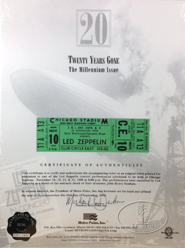 Led Zeppelin 1980 Unused Concert Ticket 20th Anniversary Ltd. Edition