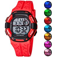 Kids Watch Sport Multi Function 30M Waterproof LED Alarm Stopwatch Digital Child Wristwatch for Boy Girl Red