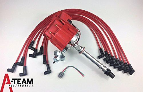 A-Team Performance SBC CHEVY 350 SUPER HEI Distributor + RED 8mm SPARK PLUG WIRES UNDER THE EXHAUST