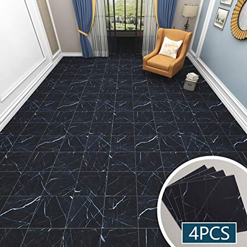 "VEELIKE 4 Pcs Marble Vinyl Flooring Peel and Stick Tile Backsplash Tiles Anti-Friction Waterproof Black Floor Sticker, Wall Decal for Kitchen Bathroom Bedroom Living Room (11.8"" x 11.8"")"