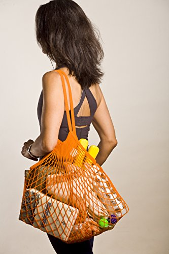 French Knit Reusable Cotton Eco Grocery String Bag Hand-Knit and Dyed in France (Shoulder Handle, Orange)