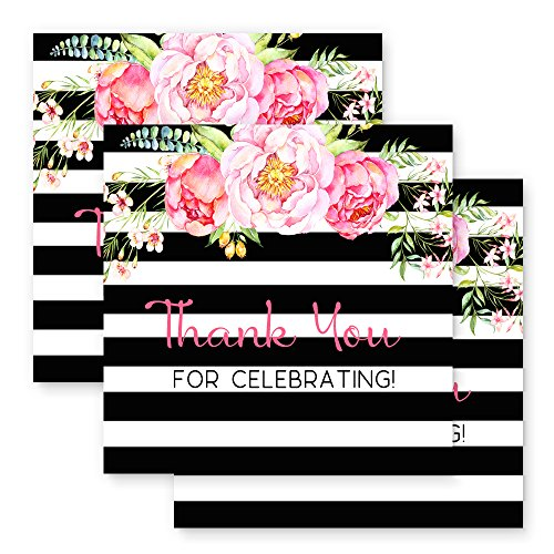 Paper Clever Party Black Stripe and Floral Favor Tags - Set of 25 - 2 Inch