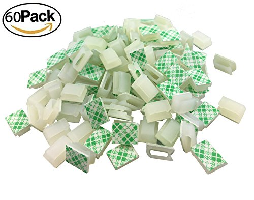 Ethernet Cable Clips,Ruaeoda 60 Pack 8mm Self-Adhesive Wire Clips, Cord Clamp Cable Management for Cat6 and Cat7 Flat Ethernet Cable(White)