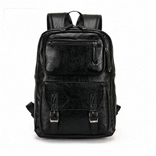 UKXMNC Leather Men's Backpack Male Bookbag Black Waterproof Mochila Masculina Knapsack Travel Mens Backpacks Black