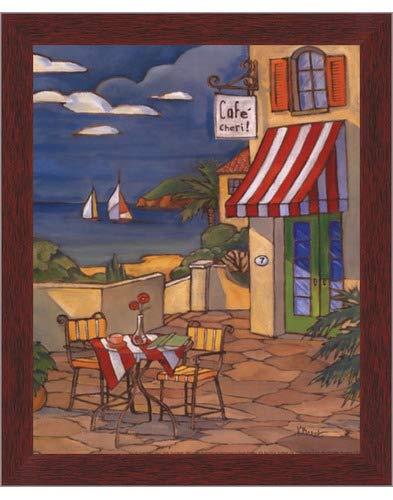 Poster Palooza Framed Cafe Cheri - Mini- 8x10 Inches - Art Print (Walnut Brown Frame)