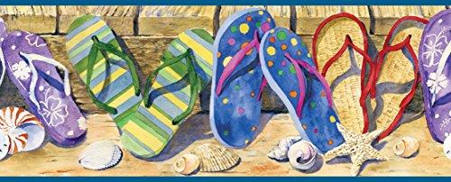 Chesapeake BBC05071B Gabby Sand Beach Sandals Portrait Wallpaper Border, Purple