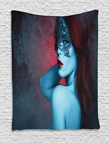 Modern Decor Tapestry by Ambesonne, Hot Sexy Feminine Image with Masquarade Ball Girl on Grey Abstract Backdrop, Wall Hanging for Bedroom Living Room Dorm, 60WX80L Inches, - Dorm Girls Sexy