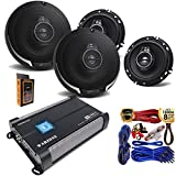 (4) Kenwood KFC-1695PS 320W 6.5' 3-Way Speaker + Gravity WZ1000.4 1000W 4 Channels 2/4 Ohm Stable w/Remote Sub Control Amplifier + Amp Kit