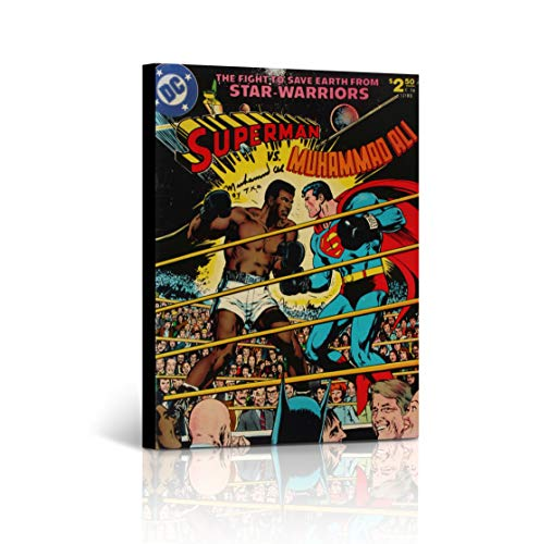 Buy4Wall Muhammad Ali vs Superman Star Warriors Old School Canvas Print Comics Poster Inspirational Wall Art Home Decor Artwork Stretched - Framed Ready to Hang -%100 Handmade in The USA 17x11