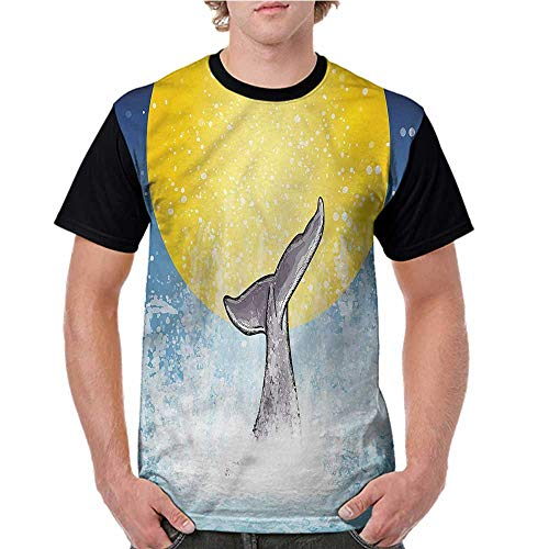 (Female Tops,Whale,Fish Tail Ocean Full Moon S-XXL Men Personalized T-Shirt O-Neck)