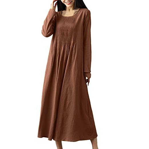 756a41c2a4c8 GREFER Women Vintage Dress Linen Pleated Solid Color Loose Long Sleeve  O-Neck Dress Coffee
