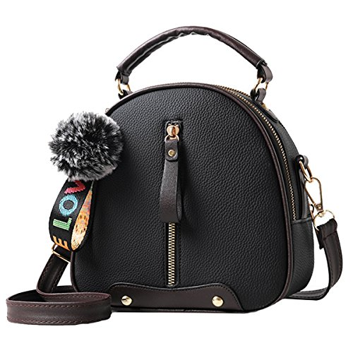 Felice Women Girls Lovely Leather Tote Fashion Small Dome Satchel Top-Handle Crossbody Bag (black) (Small Bowler Bag)