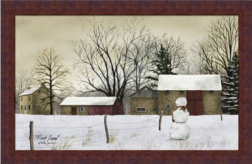 Americana Snowman (First Snow by Billy Jacobs Snowman Americana Landscape 22x14 in Framed Art Print Picture)