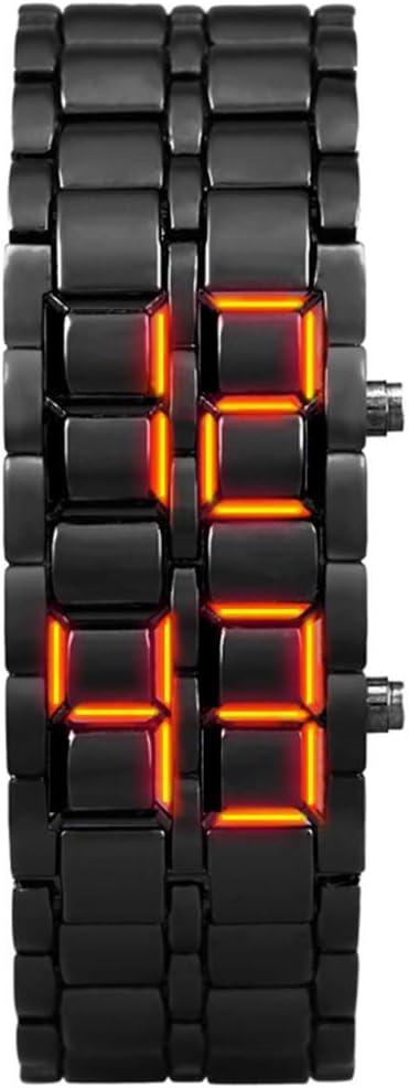 NLRHH LED Deportivo Reloj Binario luz Impermeable de los Relojes binaria electrónica de Segunda generación LED Reloj de Pulsera de aleación de Las Mujeres del Reloj Digital S Peng (Color : D)