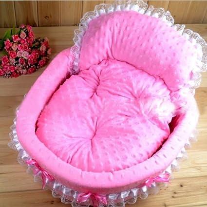 Encaje de cuna rosa del perro del animal doméstico cama de princesa