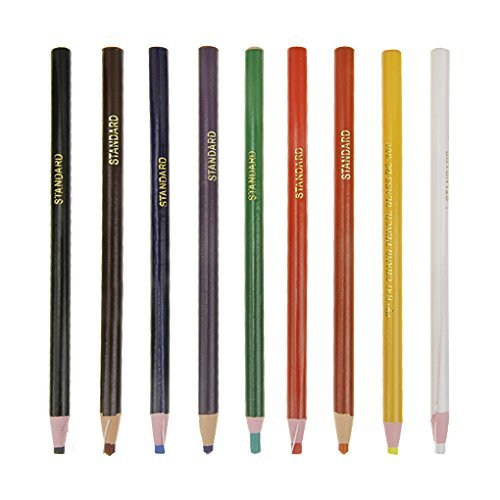 Colouring Pencils Crayons 9 Assorted Colours Oily Pencil Paper Wrapped Non-Toxic Crayons Wooden Coloured Marker Pencils Multicolor Graphic Pen for Drawing Doodling Sketching on Glasses Metal Wood