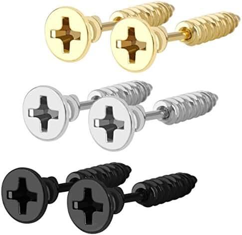 Men Unisex Stainless Steel Hip-hop Cross Lag Spike Rivet Nail Piercing Screw Stud Earrings