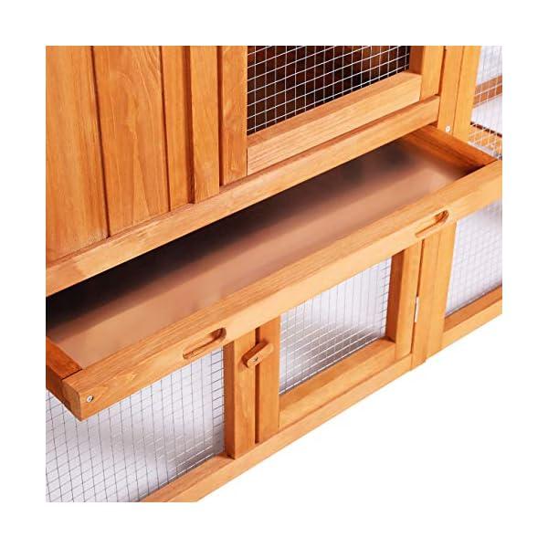 Sunnyglade Chicken Coop Large Wooden Outdoor Bunny Rabbit Hutch Hen Cage with Ventilation Door, Removable Tray & Ramp Garden Backyard Pet House Chicken Nesting Box 4