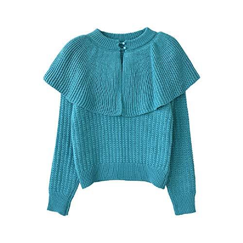 Dabuwawa Women's Blue Winter Knitted Sweater lady Vintage Shawl Pullovers Top from Dabuwawa