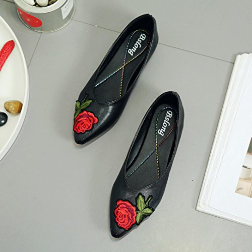 DEESEE(TM) Women Flower Flats Slip Fabric Casual Shoes Pointed Toe Wedding Work Shoes xoOS5