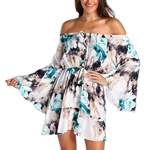 Sexy Robe beautyjourney V Fleurs BohMe Sundrss Mini Grande Robe Sexy Hiver Summer Col Taille Bleu Femme Sexy Maxi Pull Robe Pull Robe Beach Femme Pull Clair Femme Robe Lady Femmes 4d0pxd