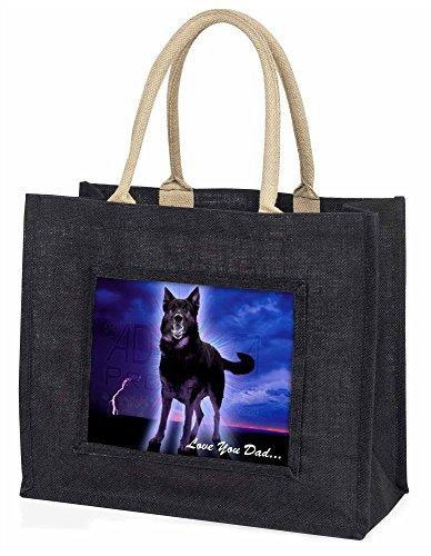 Advanta–Große Einkaufstasche Deutscher Schäferhund Love You Dad Große Einkaufstasche Weihnachtsgeschenk Idee, Jute, schwarz, 42x 34,5x 2cm