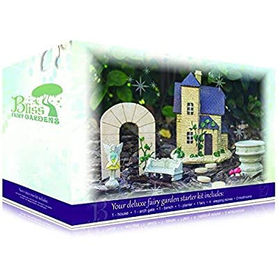 Bliss Fairy Gardens French Cottage Magical Starter Kit with Fairy Victoria | Cottage House and Durable, Hand-Crafted Accessories: Garden & Outdoor