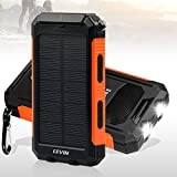 Solar Charger, Levin 10000mAh LED Emergency Light Dual USB Port Solar Panel Portable Charger Rainproof Multiple Security Protection for iPhone, iPad, iPod, Cell Phone, Tablet, Camera (Orange) Gear And Gadgets Levin