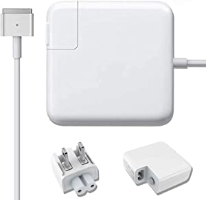 Mac Book Air Charger for 11 inch and 13 inch After Mid 2012, AC 45W Magnetic Magsafe 2 (T-tip) Shape Connector Power Adapter
