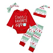 Christmas 4Pcs Outfit Set Baby Boys Girls Daddy's Favorite Gift Rompers(0-3 Months)