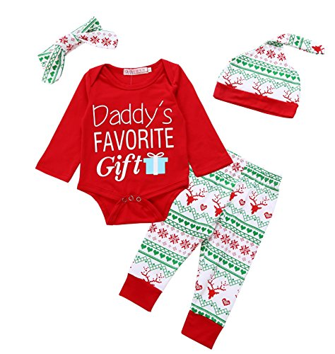 Baby Girl Christmas Outfits Newborn - Von kilizo Christmas 4Pcs Outfit Set Baby Boys Girls Daddy's Favorite Gift Rompers(0-3 Months)
