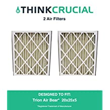 2 Trion Air Bear 20x25x5 Merv 8 Replacement Air Filters, Compare Part # 255649-102, Designed & Engineered by Crucial Air